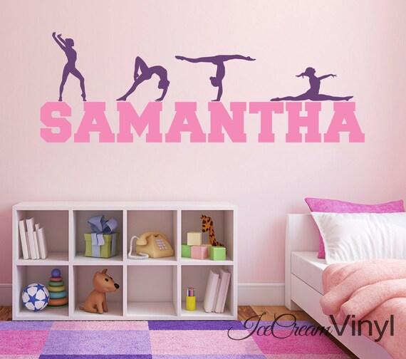 Name Wall Decal Gymnastics Vinyl Kids Wall Decal Sports Decor