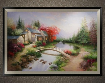 Original oil painting, Hand painted original landscape oil painting on canvas, custom oil portrait or original oil painting in any size