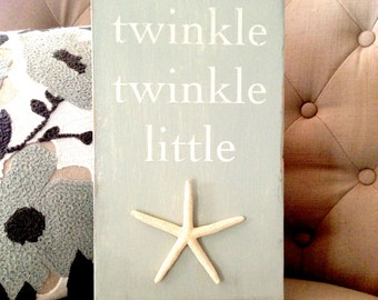 Twinkle, Twinkle Little Star -- Nautical sign for a nursery -- beach decor, baby's room