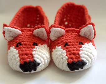 crochet fox slippers women men girl boy