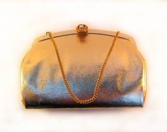 1950's Gold Vinyl Evening Clutch