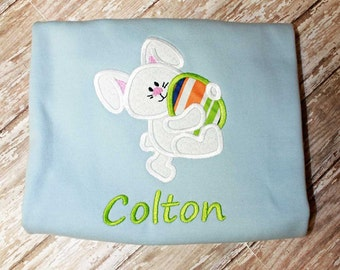 Boy Easter Bunny Shirt, Bunny Egg Shirt, Applique Easter Shirt, Boy Easter Shirt