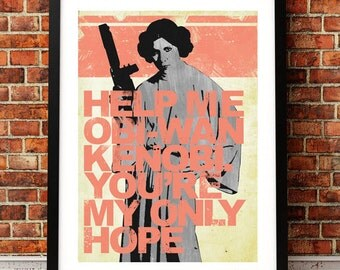 Star Wars Inspired Princess Leia Quote A3 Print