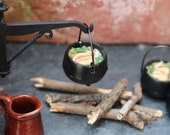 One inch half inch dollhouse food pottage filled cauldron kettle. Colonial MedievalTudor dollhouse miniature food rustic roombox