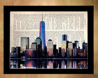 New York Skyline Dictionary Art Print Nyc One World Trade Center Upcycled Book  Wall Art Home Decor Ground Zero da652