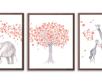 New Baby Gift, Elephant Nursery Art, Baby Girl Nursery Decor, Coral and Gray Nursery Art, Baby Girl Nursery Art, Set of Three Prints - S034W