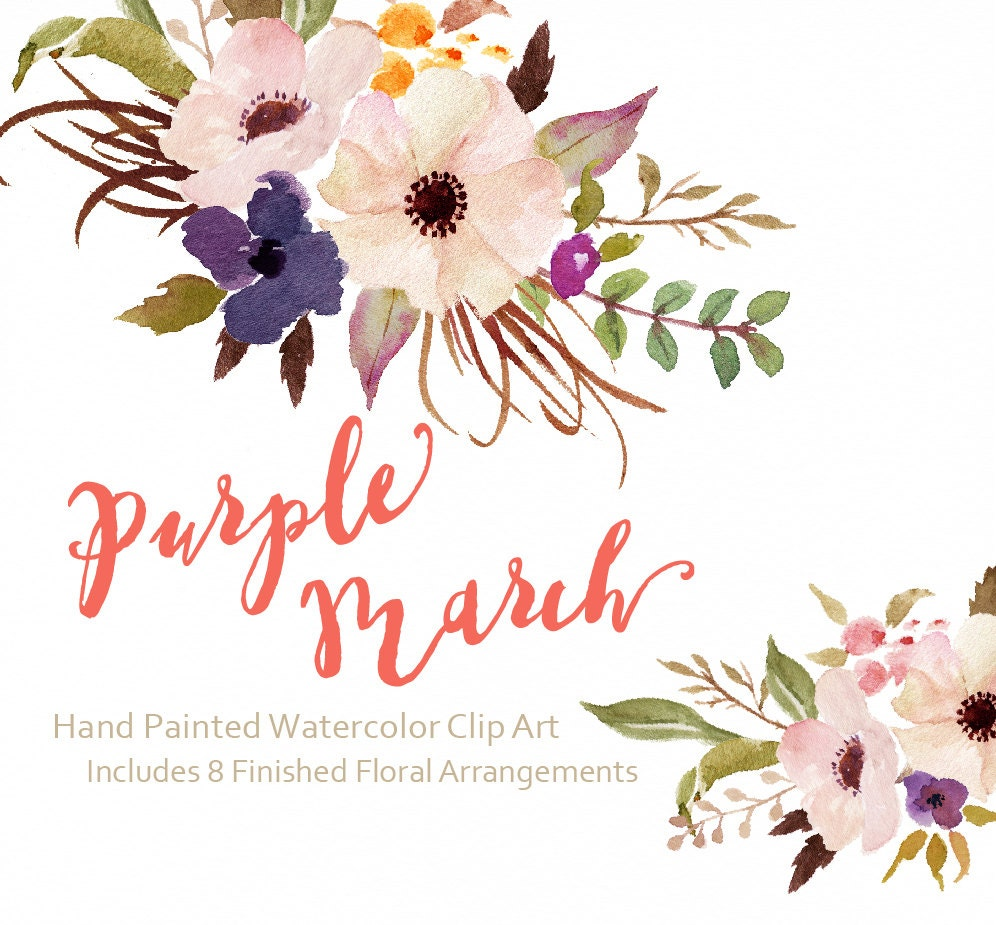 Watercolor flower Clip Art-Purple by GraphicSafari on Etsy