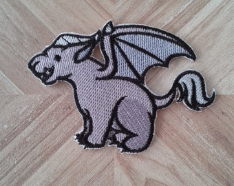 Cute gargoyle iron-on patch, mythological creature patch.