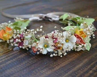 Multicolored flower crown, head wreath, bohemian headband, floral headband