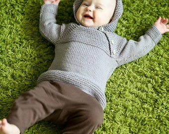 MADE TO ORDER/ Hand knitted baby sweater with hood/ merino wool