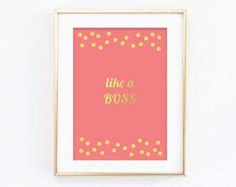 Like A Boss Print - Golf Effect Print - Typography Print - Funny Print - Polka Dot Print - Gift For Her