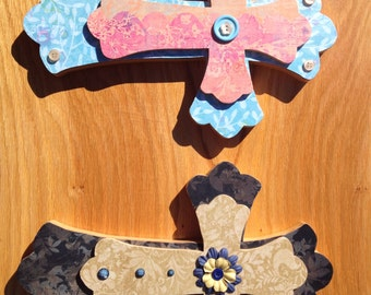 Decorative Wall Cross - Scalloped Edges - Stackable Crosses - Custom made to various color schemes