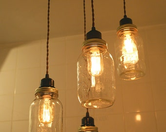 Mason Jar chandelier vintage Industrial, Antique Edison Bulb, Mason Jar Lamp, Rustic Lighting