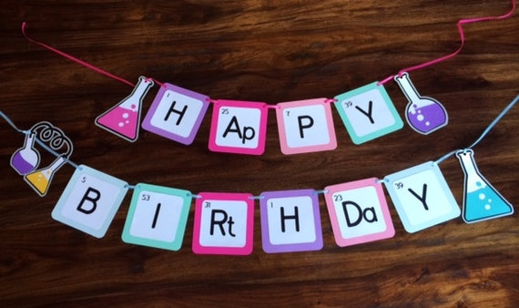 Birthday banner science party happy birthday banner like this item urtaz Choice Image