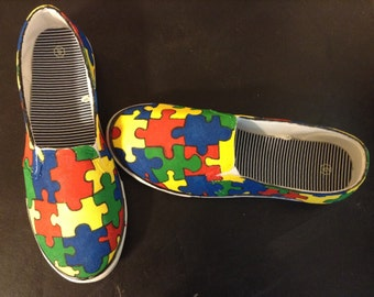 Hand Painted Autism Puzzle Slip On Shoes-MADE TO ORDER. 10 donated to autism Speaks