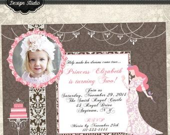 Elegant Arial Photo Birthday Invitation