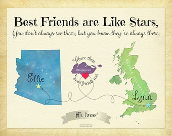 Long Distance Present for Friends, Moving Away Gift, Custom Map Art Print, Military Family Present, Expatriate Gift Idea