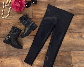 Girls Black Faux Leather Leggings, Girls Leggings, Girls Clothing, Girls Pants -Sizes 4/5, 6/6x, 7/8, 10/12, 14 Ready to Ship