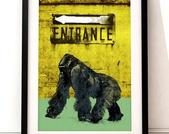Illustrative gorilla fine art print, gorilla art print, fine art print, gorilla print, gorilla poster print, gorilla