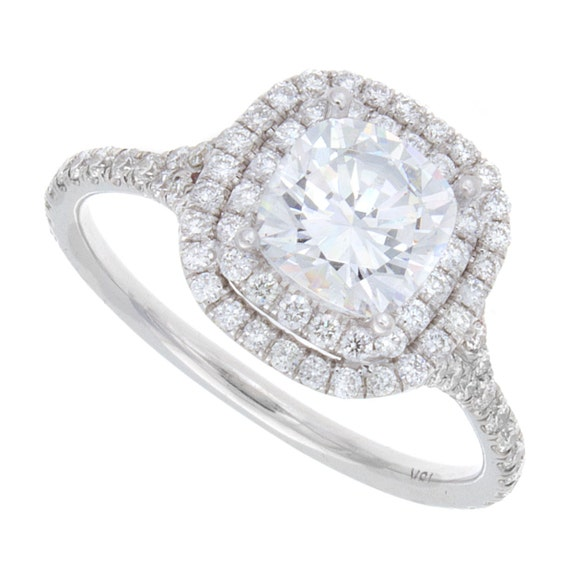 2 20ct Cushion Cut Double Halo Pavé Engagement by JacobKJewelry