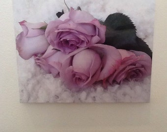 "16"" x 20"" Purple Roses on canvas"