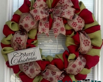 Christmas Burlap Wreath Winter Wreath Red with Merry