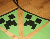 Minecraft creeper inspired party bunting.