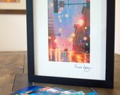 "5"" x 7"" Art Postcard Set. Includes 2 of each of the 5 paintings from Vanessa Lacy's Wet Street Scene Series."