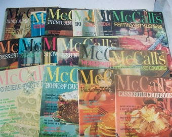 McCall's Magazine Cookbook Set, 16 Issues Plus Recipe Index Guide, Cookbook Series, Desserts Breakfast Dinners Snacks, McCall's Recipes