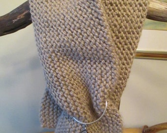 SALE Taupe Winter Wool Scarf with Pendant