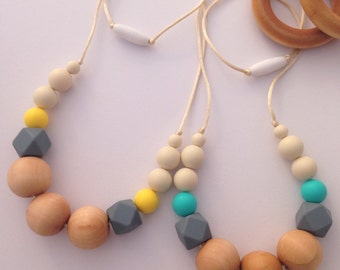 Natural Teething Necklace, Nursing Necklace, silicone teething necklace, Breastfeeding Necklace, unique baby shower gift