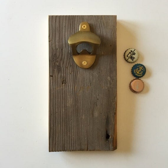 handcrafted wall mounted wood bottle opener with inset magnets. Black Bedroom Furniture Sets. Home Design Ideas