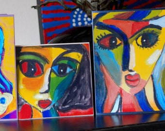 Set of 4 Colourful Art Greeting Cards /  Note cards from Original Abstract Paintings Faces by Gigi Joel - Blank inside