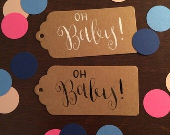 Handwritten Gift Tags with Twine - set of 10 - Gift Tags, Hang Tags, Party Tags - Baby Shower Tags