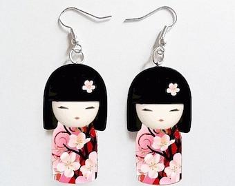 Japanese dolls Kimmidoll kokeshi Art Charm Earrings