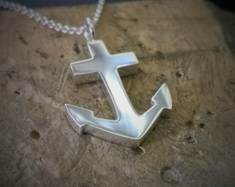 Sterling Silver Anchor Necklace Pendant - Nautical Necklace, Nautical Pendant, Sterling Silver Anchor Pendant, Sterling Anchor Necklace Hope