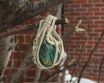 Labradorite and Peridot Sterling Silver Wire Wrap Pendant~ Artisan pendant~ Labradorite Jewelry~
