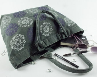 Bags and purses canvas deck bag, travel bag, beach bag hand dyed in charcoal grey with with silk screen print of flowers both sides