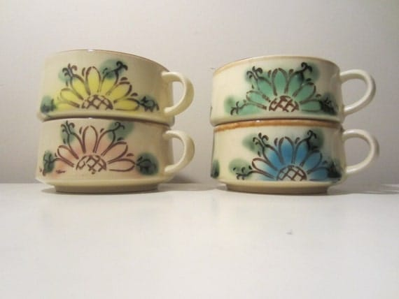 Stoneware soup bowls, soup cups, one each of pink, green, yellow and ...