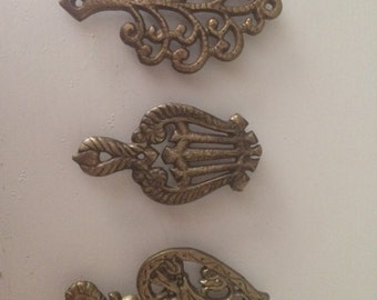 Set of 3 Vintage Brass Trivets