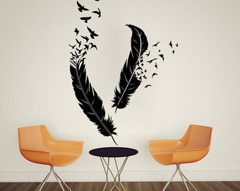 Feather Wall Art feather wall decal | etsy
