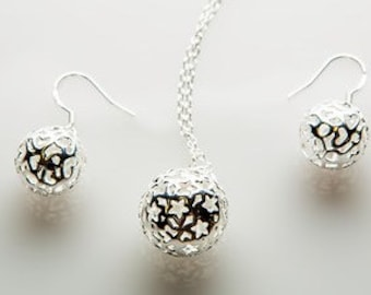 Hollow ball earrings or necklace in sterling silver