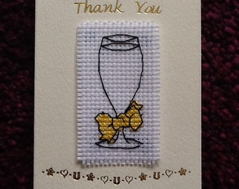 Lovely Handmade Cross Stitch THANK YOU Card