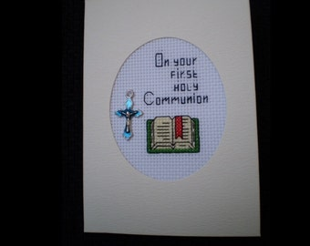 Lovely Handmade Cross Stitch HOLY COMMUNION Card