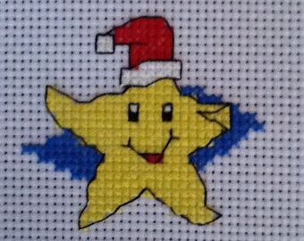COMPLETED CROSS STITCH - Xmas Star -Ideal for Card Makers