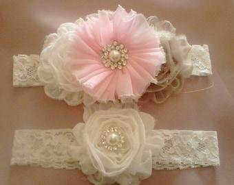 Weddin garters, beautiful set of League League bridal vintage crystals and pearls wedding