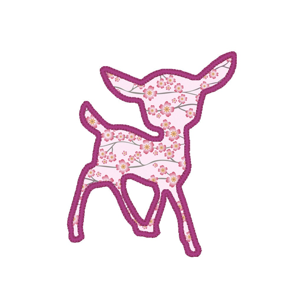Baby deer applique embroidery design pattern for by