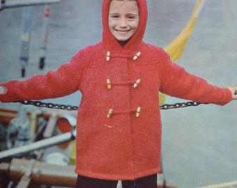 PDF kid's duffle coat vintage knitting pattern pdf INSTANT download pattern only pdf 1960s
