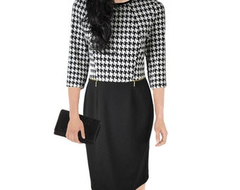 Slimming Plus Size Dress with houndstooth pattern very comfortable Size 26 24 22 20 18 EU 56 54 52 RISA