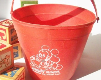 Vintage Mickey Mouse Pail / Very Early Plastic Souvenir